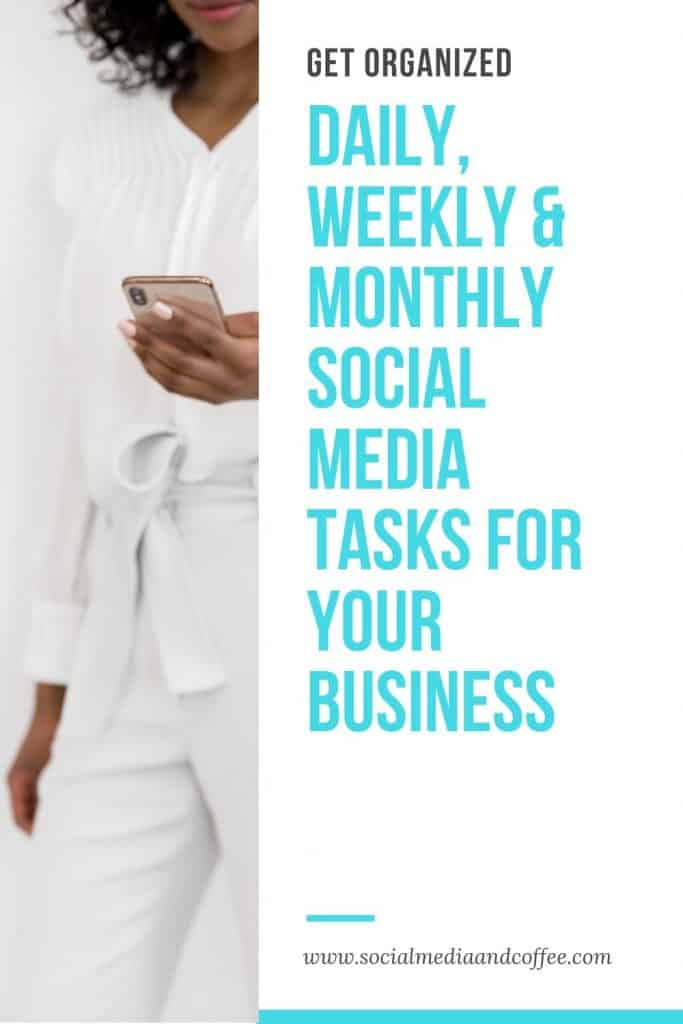 Daily, Weekly and Monthly Social Media Tasks for Your Business | social media marketing | social media manager | online business | Facebook | Instagram | Twitter | blog | blogging | Work from home | entrepreneur | small business | #onlinebusiness #blog #Blogging #Facebook #Instagram #Twitter #socialmedia #marketing